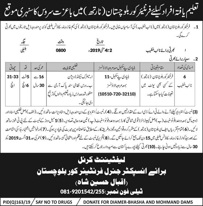 Naib Khateeb Jobs in Frontier Core