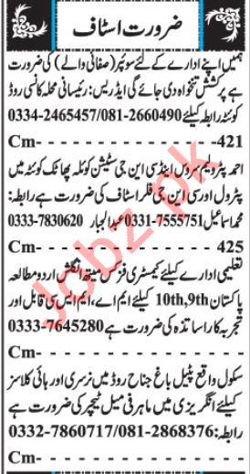 Office Staff Jobs Open in Quetta