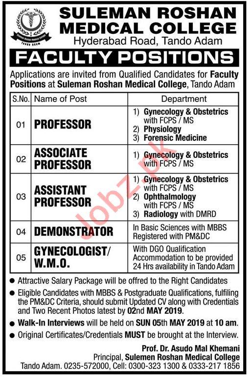 Suleman Roshan Medical College Professor Jobs 2019