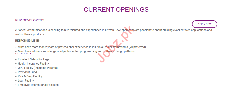 ePlanet Karachi Jobs for PHP Developers