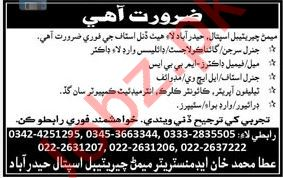 Memon Cheritable Hospital Medical Staff Jobs 2019
