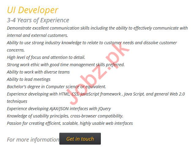 Ibrism Technologies Lahore Jobs UI Developer