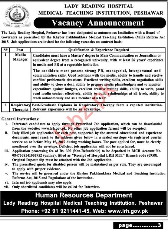 Lady Reading Hospital Medical Manager Jobs 2019