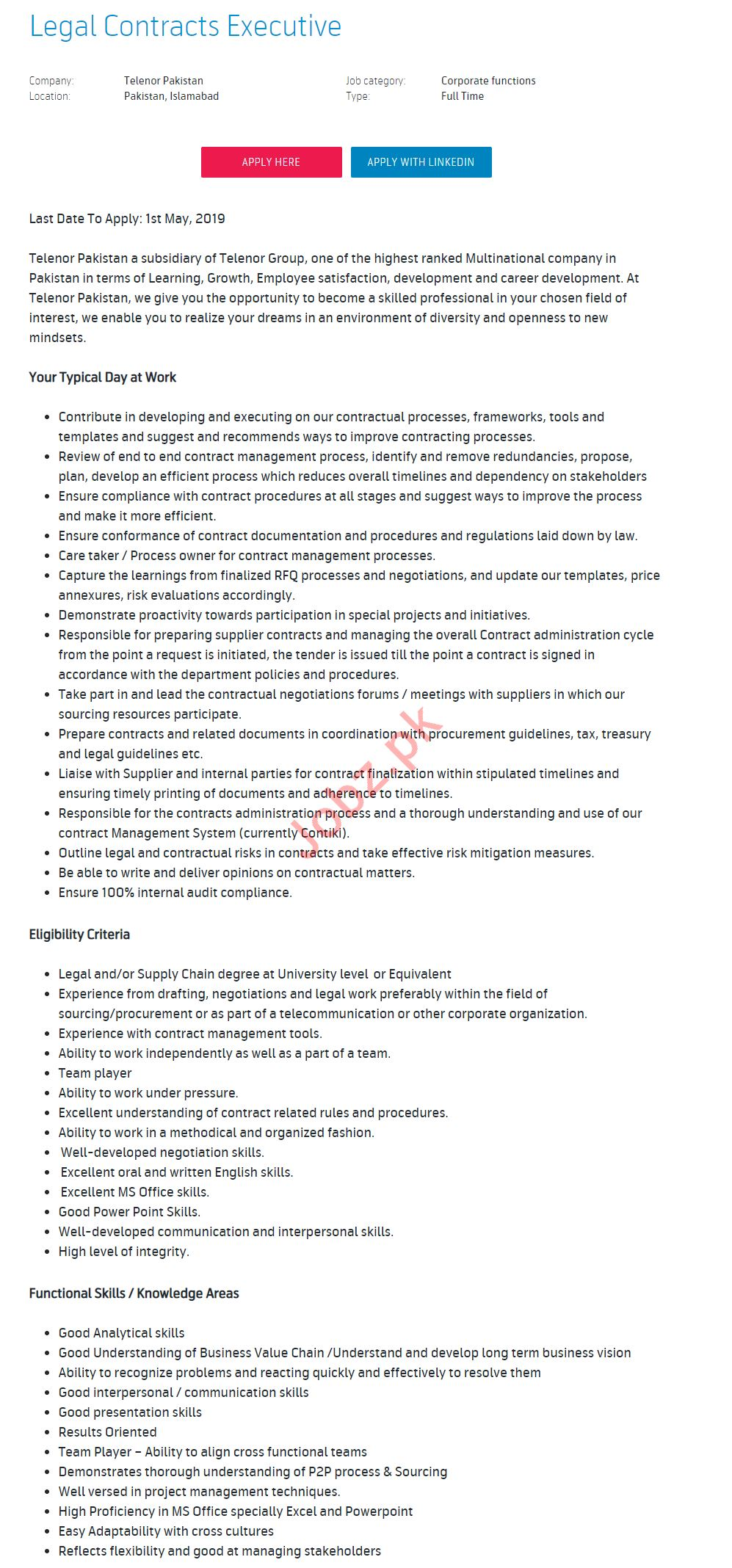 Legal Contracts Executive Jobs in Telenor Pakistan
