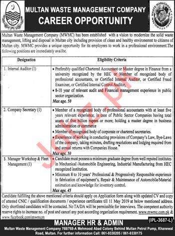 Multan Waste Management Company Jobs 2019