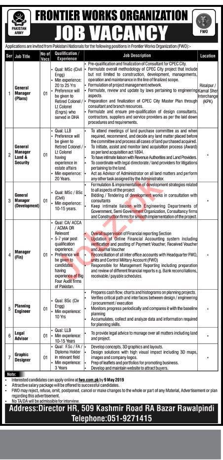 Frontier Works Organization FWO Jobs in Rawalpindi