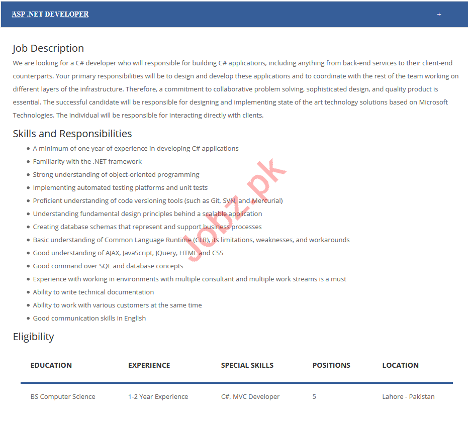 viretech  ASP Dot Net Developer Job 2019
