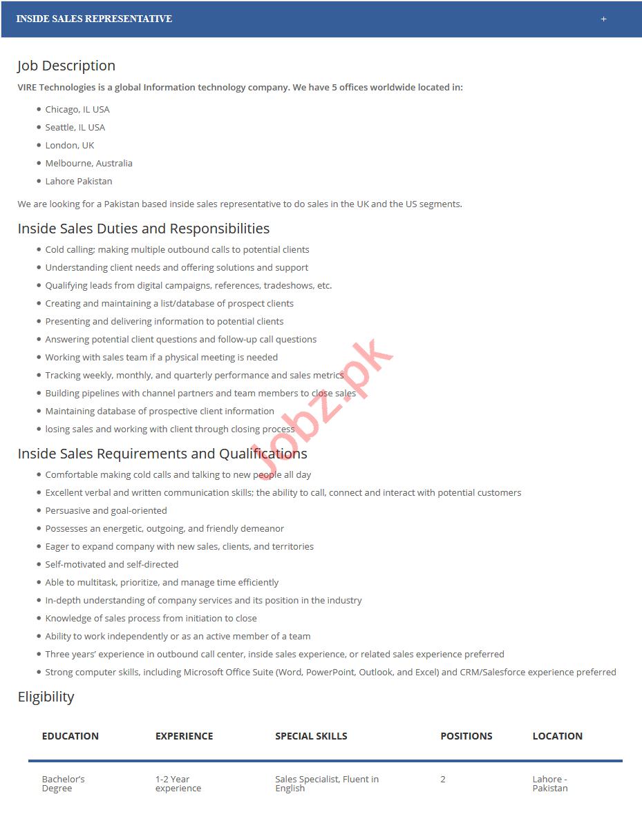 viretech Sales Representative Job in Lahore