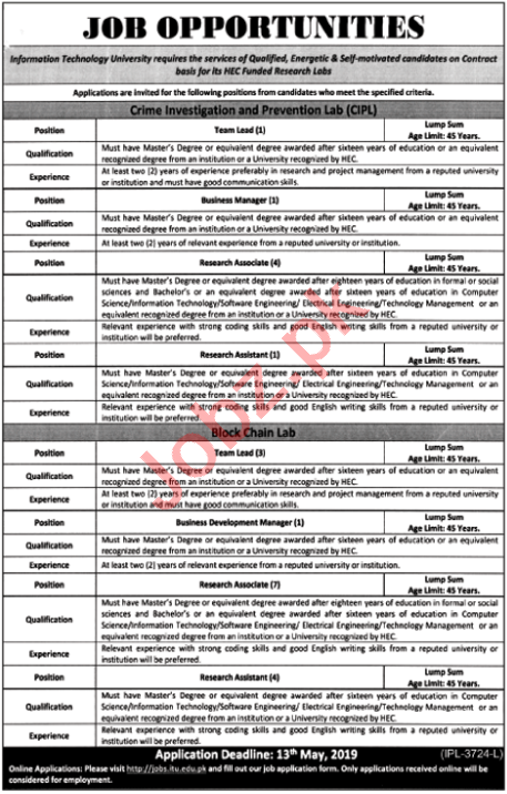 Information Technology University ITU Jobs 2019