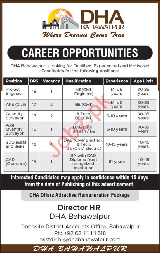 Defence Housing Authority  Jobs in Bahawalpur