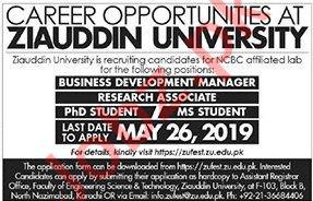 Ziauddin University Research Associate Jobs 2019