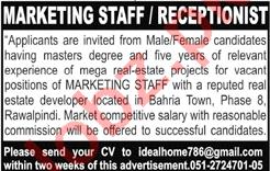 Marketing Executive & Receptionist Job in Rawalpindi