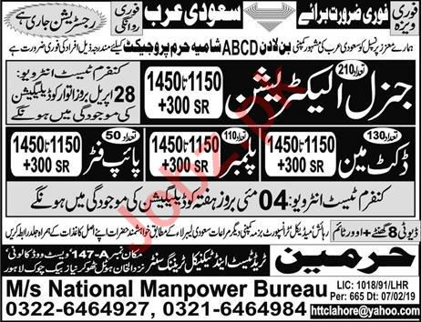 General Electrician & Pipe Fitter Jobs in Saudi Arabia