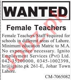 Female Teacher Job in Lahore