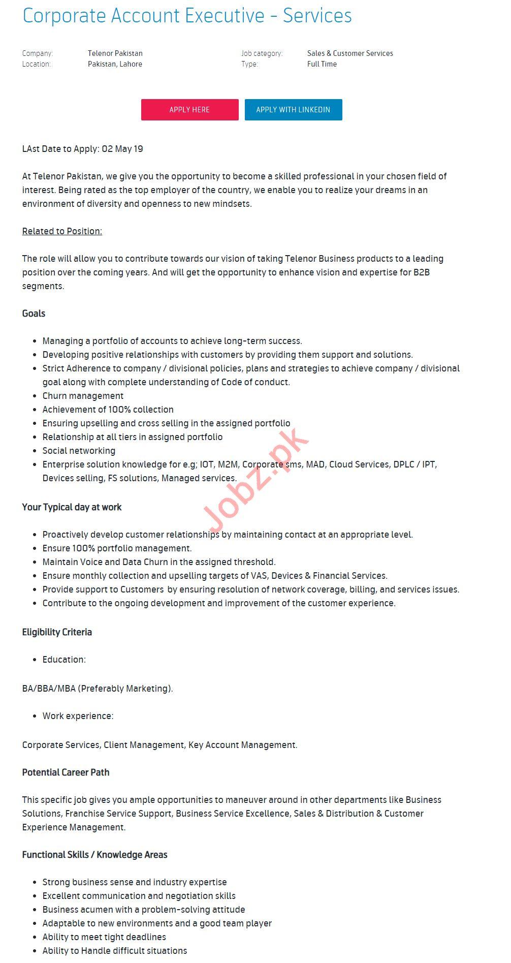 Telenor Pakistan Jobs 2019 for Corporate Account Executive