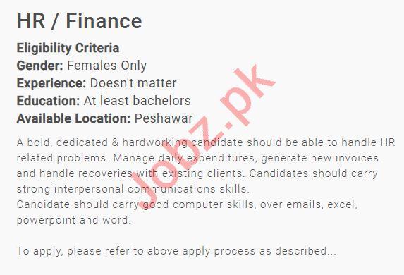 Human Resource & Finance Manager Job in Peshawar