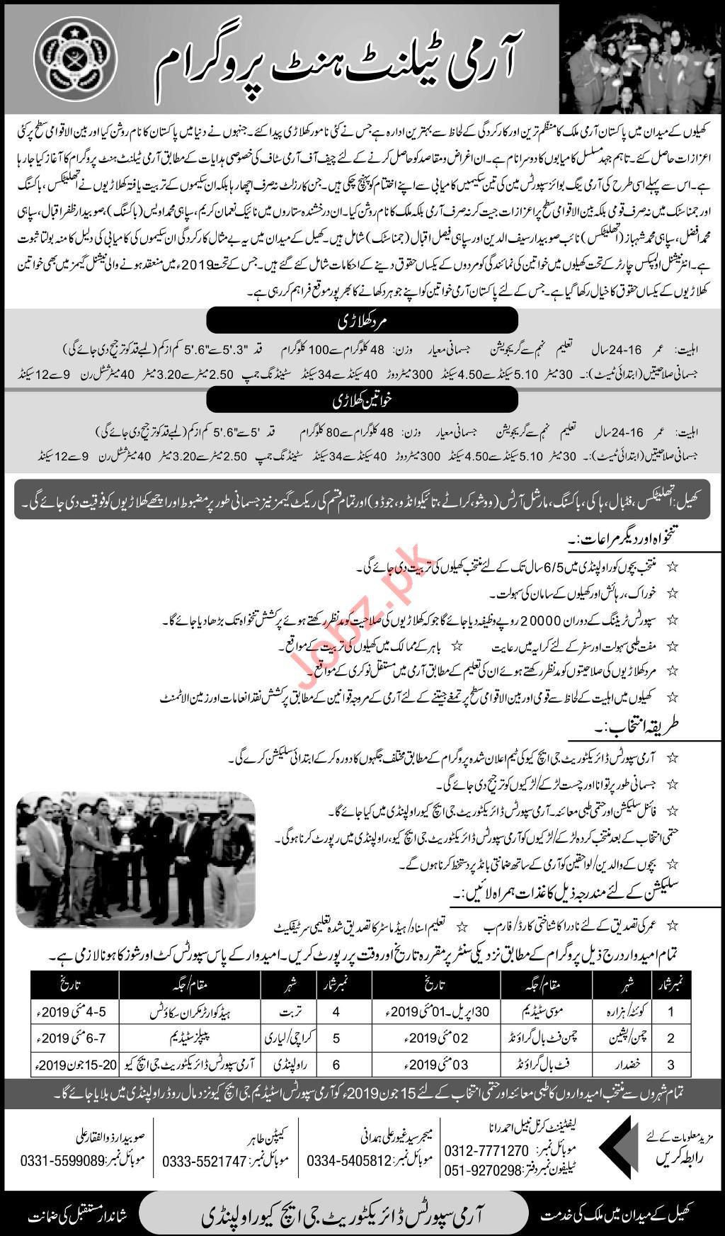 Pakistan Army Sports Talent Hunt Program 2019 Job