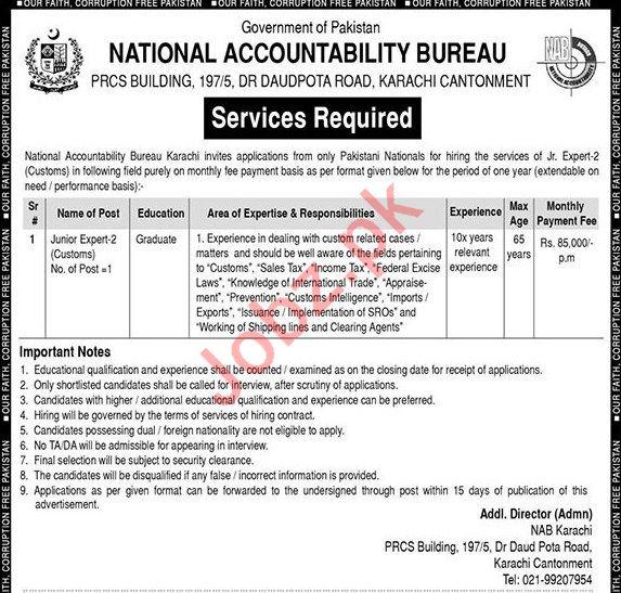 NAB Jobs 2019 For Junior Expert 2 Customs in Karachi 2019 Job