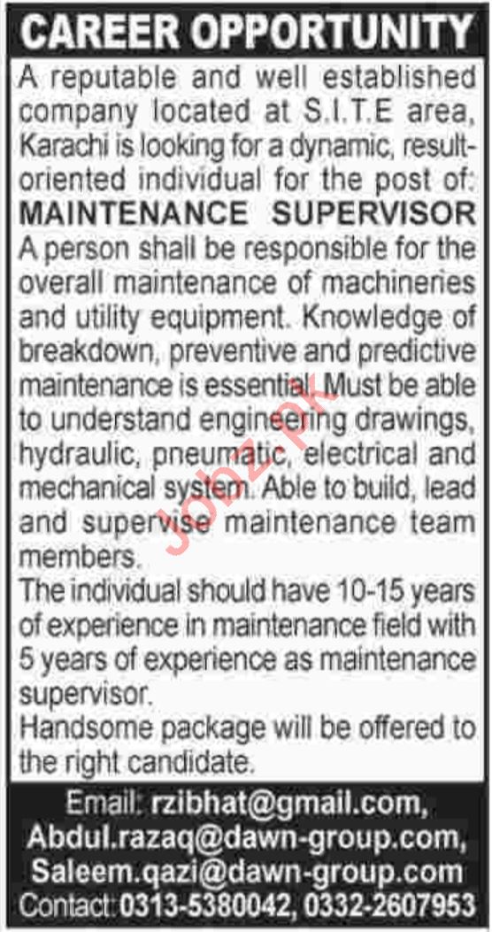 Maintenance Supervisor Jobs in Dawn Group 2019 Job