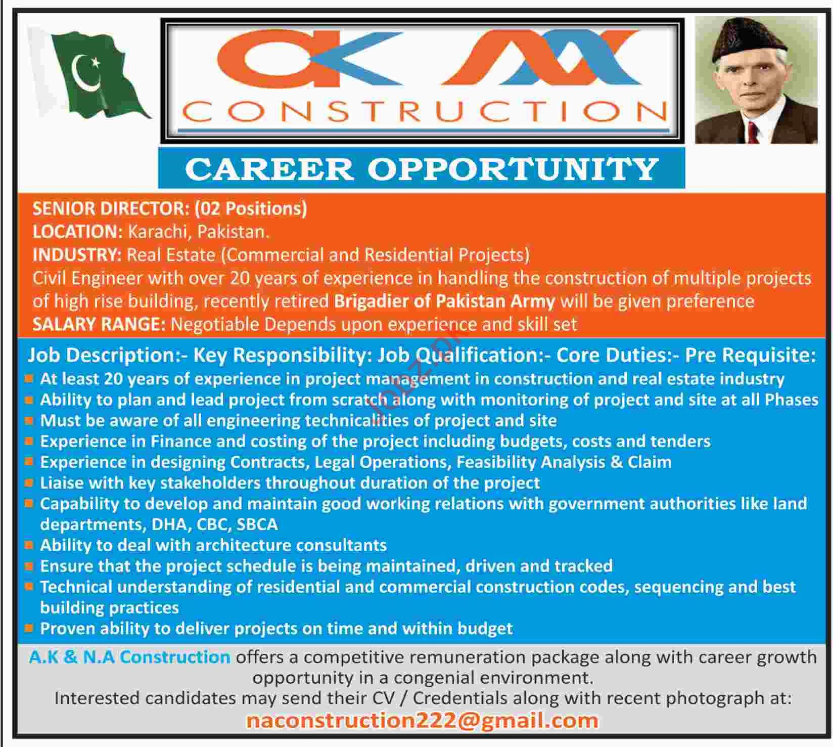 Director Real Estate Jobs in NA Construction Company