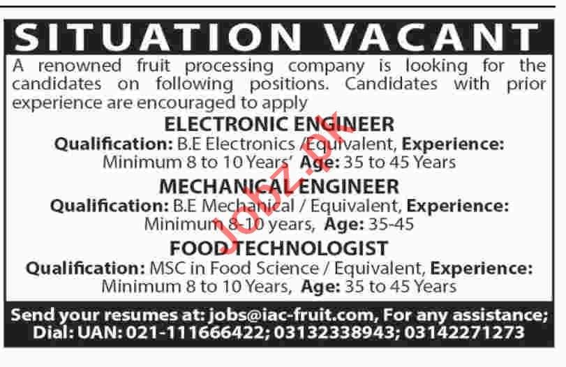 Engineer & Food Technologist Job in karachi 2019 Job Advertisement