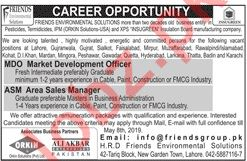 Friends Environmental Solutions Jobs 2019 in Lahore