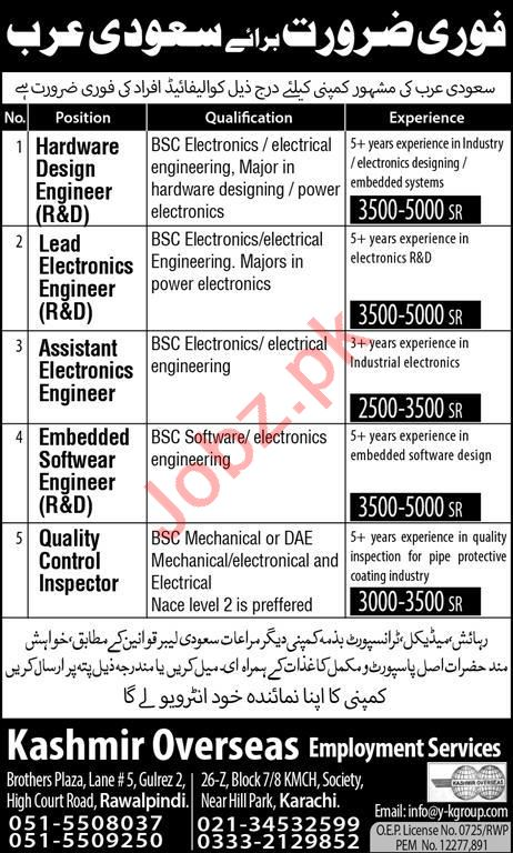 Hardware Design Engineer Lead Electronic Engineer Assistant Electronics Engineer Embedded Software Engineer Quality Control Inspector Jobs In Kashmir Overseas Employment Services
