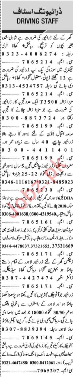 Jang Sunday Classified Ads 28th April 2019 Driving Staff