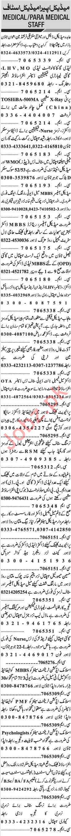 Jang Sunday Classified Ads 28th April 2019 Paramedical Staff