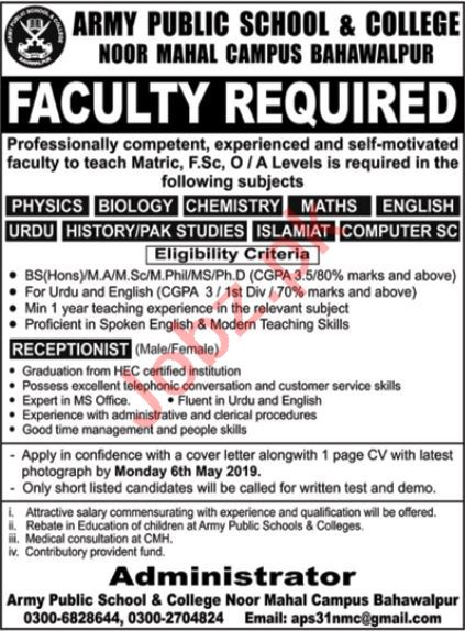 Army Public School & College Teacher Job in Bahawalpur