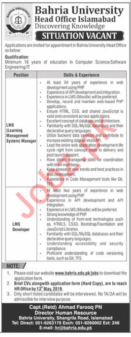 Bahria University Jobs 2019 For Islamabad