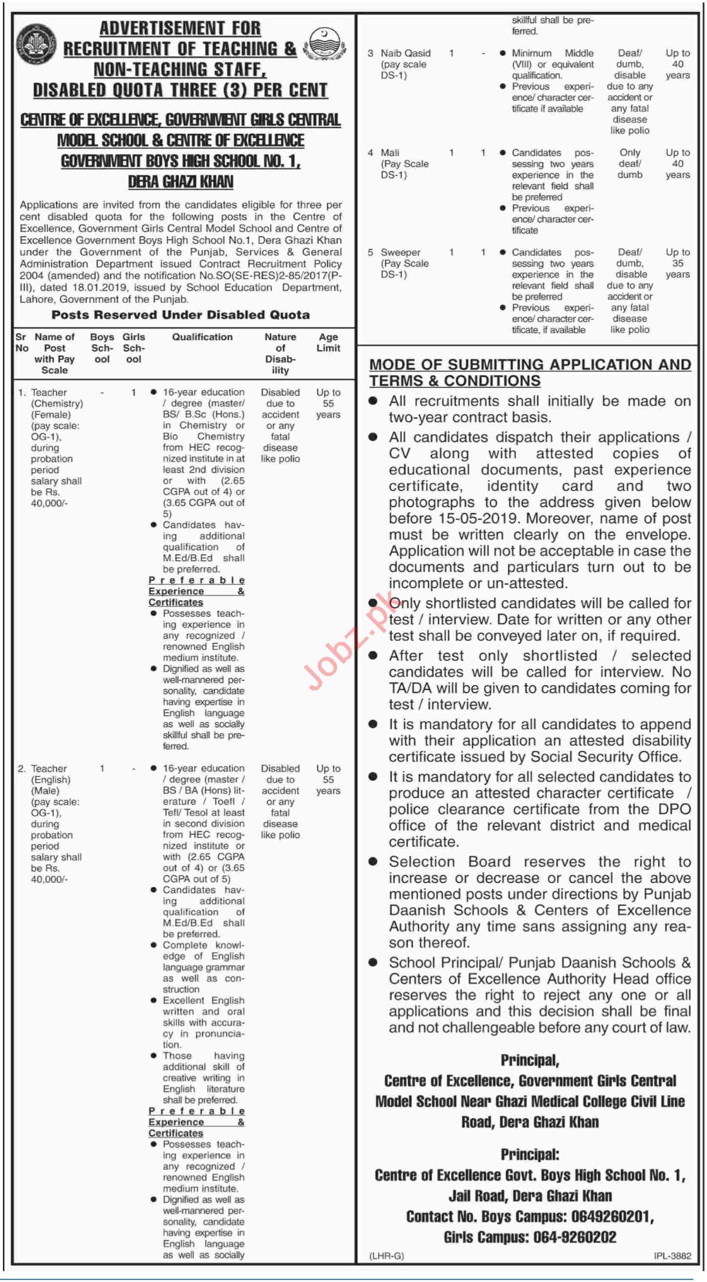 Centre of Excellence Schools Jobs in Dera Ghazi Khan