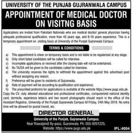 University of The Punjab Medical Doctor Jobs 2019