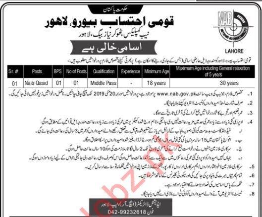 NAB National Accountability Bureau Job For Naib Qasid