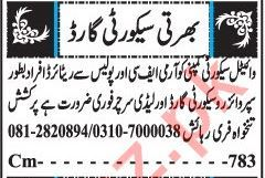 Security Guard & Lady Searcher Jobs 2019 in Quetta