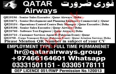Sales Executive Jobs in Qatar Airways