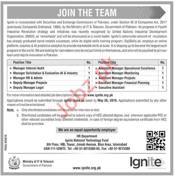 Ignite National Technology Fund Jobs 2019 in Islamabad
