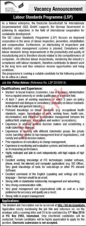 GIZ Pakistan NGO Jobs 2019 For Policy Advisor in Islamabad