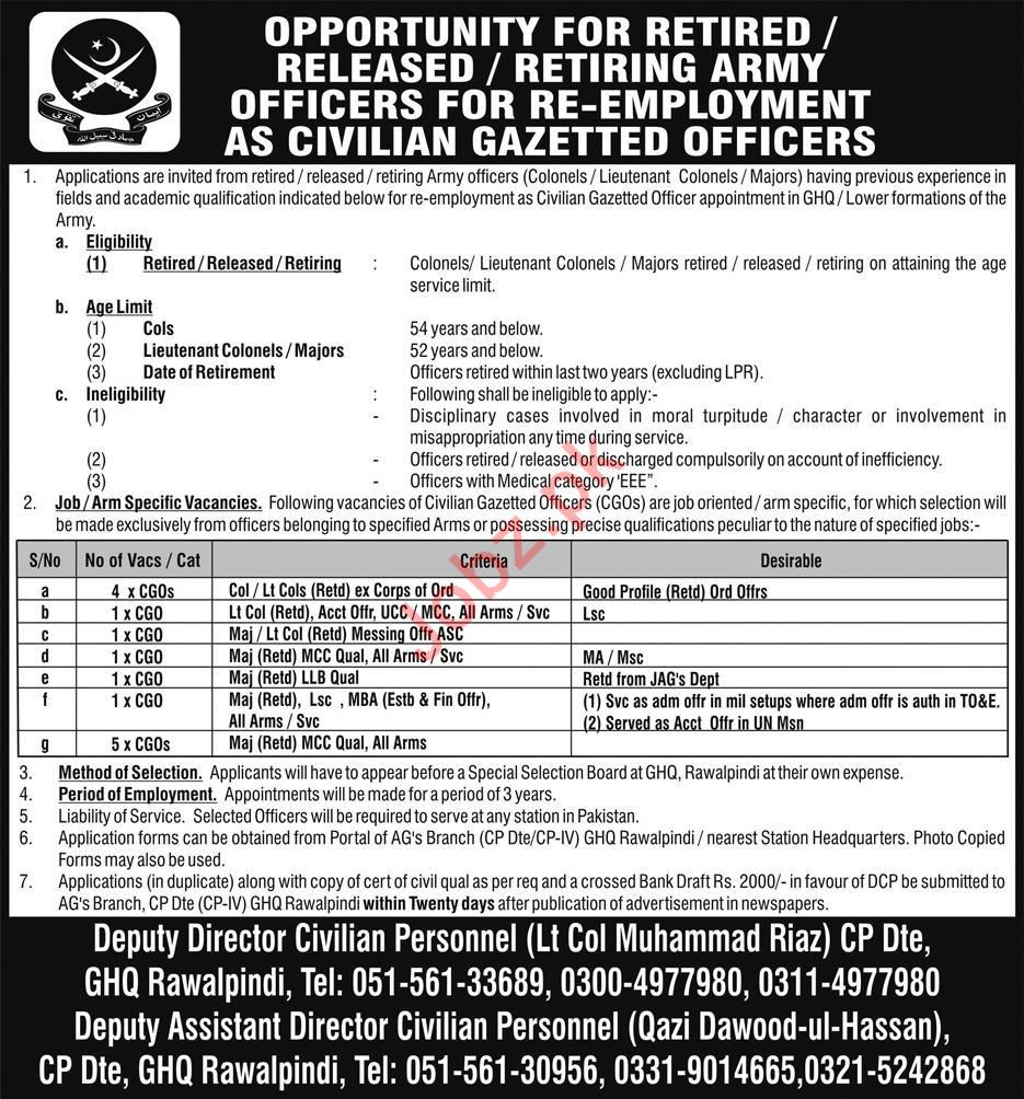 Pakisan Army Civilians Officer Jobs 2019