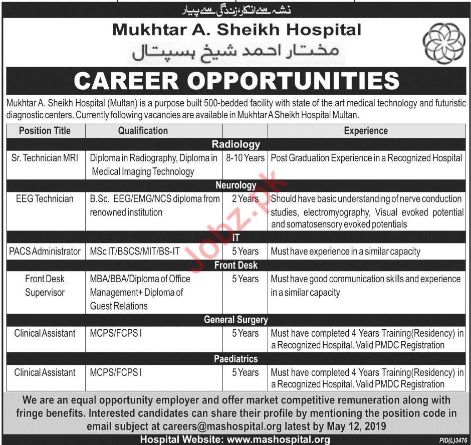 Mukhtar A Sheikh Hospital Medical & Technical Jobs 2019