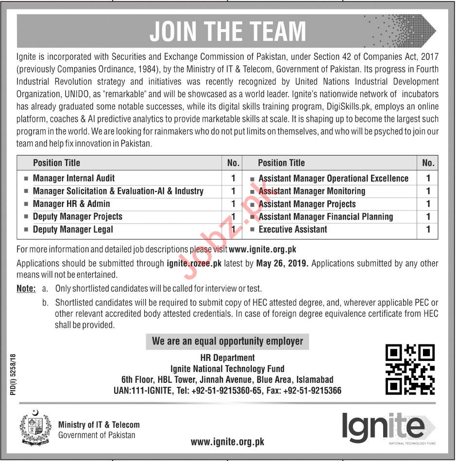 Ignite National Technology Fund Jobs 2019 For Islamabad