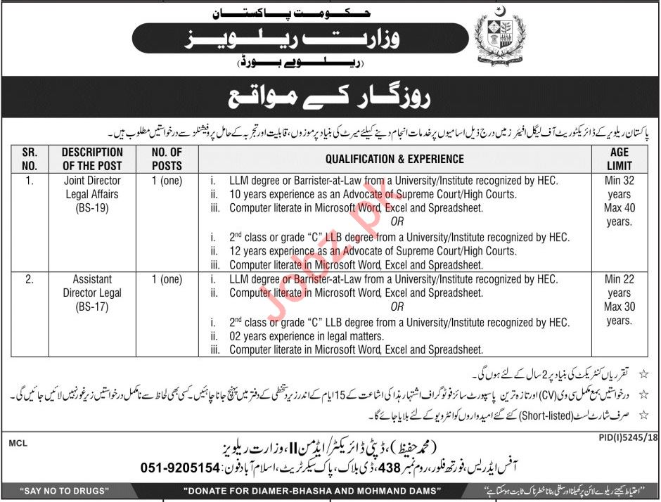 Ministry of Railway Joint Director Legal Affairs Jobs 2019