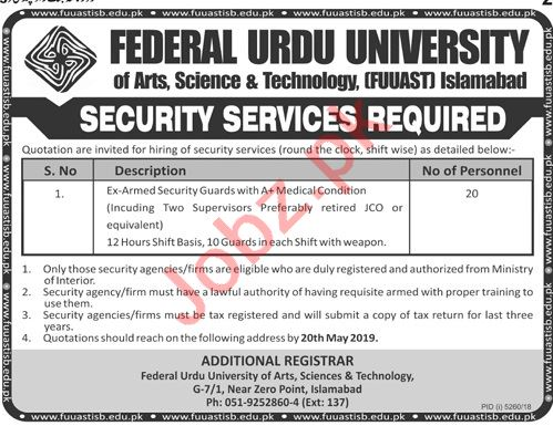 Federal Urdu University of Arts Science FUUAST Jobs 2019
