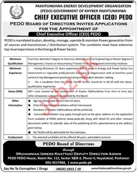 PEDO Pakhtunkhwa Energy Development Organization Job 2019