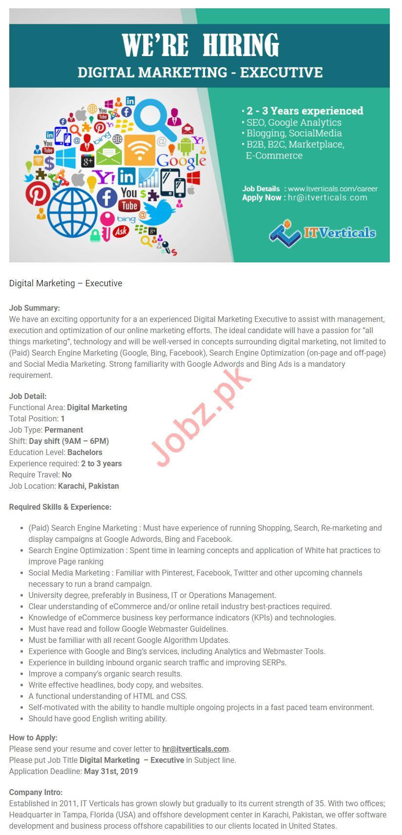 Digital Marketing Executive Job in Karachi