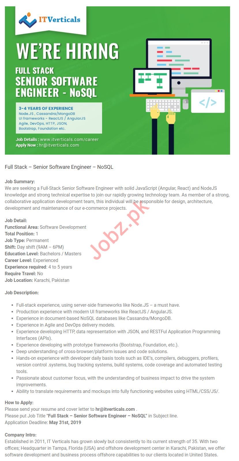 Full Stack Senior Software Engineer Job in Karachi