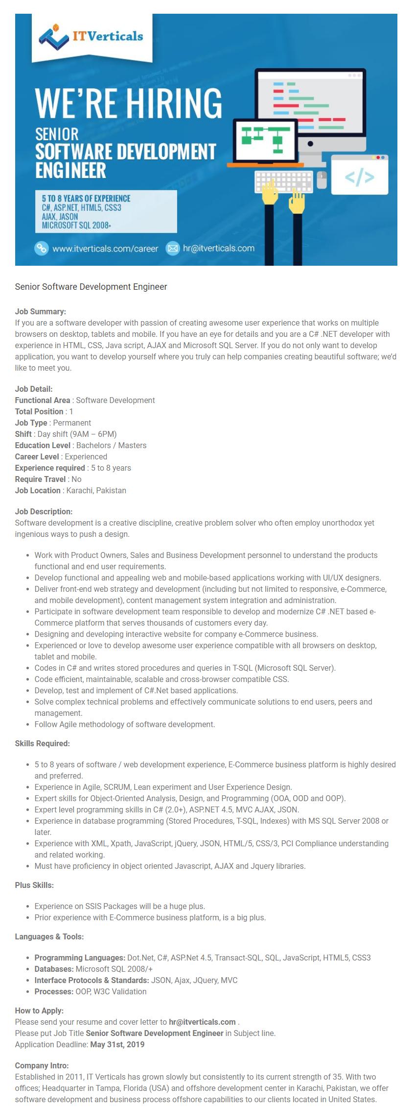 Senior Software Development Engineer Job in Karachi