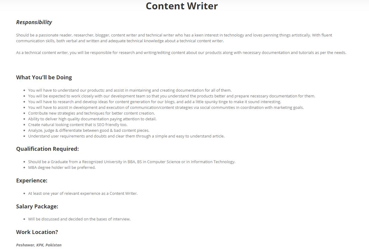 Content Writer Job in Peshawar 2019 Job Advertisement Pakistan