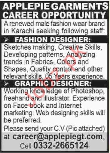 Fashion Designer Graphic Designer Jobs 2019 2020 Job Advertisement Pakistan