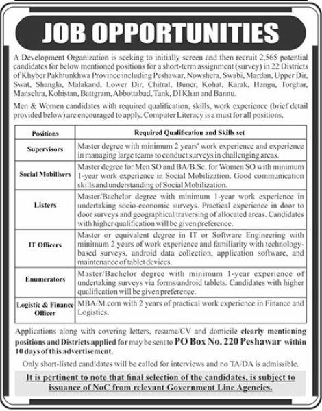 Public Sector Organization Jobs in Mansehra